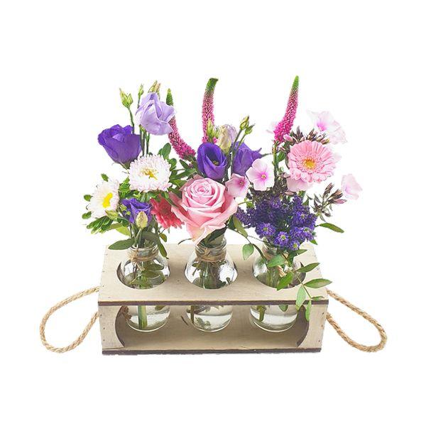 Mini vases blue pink
