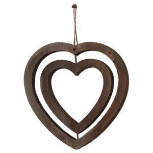 Suspension 2 cœurs brun